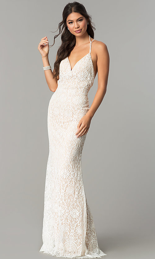 Image of long floral-lace v-neck prom dress with open back. Style: ZG-PL-32774 Front Image