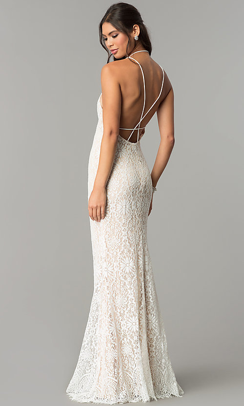 Image of long floral-lace v-neck prom dress with open back. Style: ZG-PL-32774 Back Image