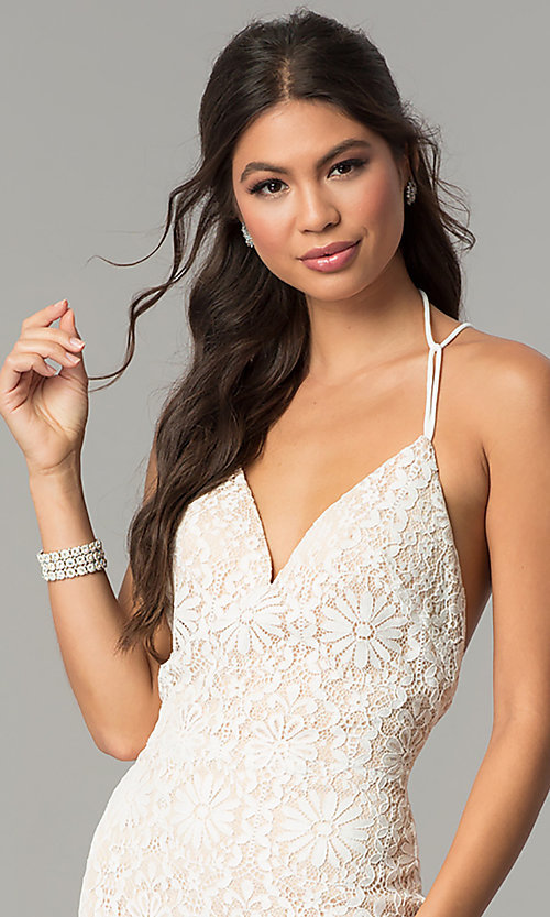 Image of long floral-lace v-neck prom dress with open back. Style: ZG-PL-32774 Detail Image 1