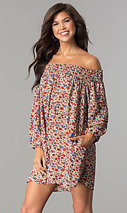 Smocked Off-the-Shoulder Casual Shift Dress