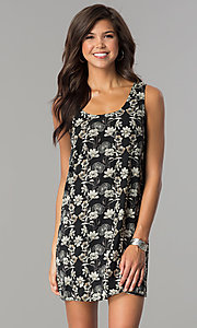 Short Shift Print Party Dress