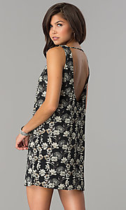 Image of short black casual party dress with floral print. Style: RO-R65700 Back Image