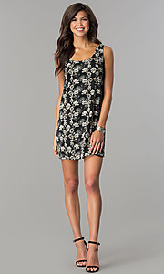 Image of short black casual party dress with floral print. Style: RO-R65700 Detail Image 2