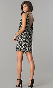 Image of short black casual party dress with floral print. Style: RO-R65700 Detail Image 3