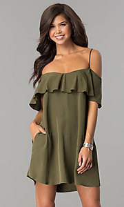 Short Olive Green Shift Party Dress with Pockets