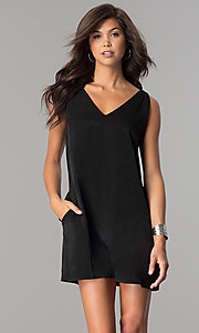 Short V-Neck Sleeveless Shift Party Dress