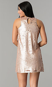 Image of reversible-sequin short shift holiday party dress. Style: VE-866-212376 Back Image