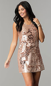 Image of reversible-sequin short shift holiday party dress. Style: VE-866-212376 Detail Image 2