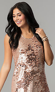 Image of reversible-sequin short shift holiday party dress. Style: VE-866-212376 Detail Image 3