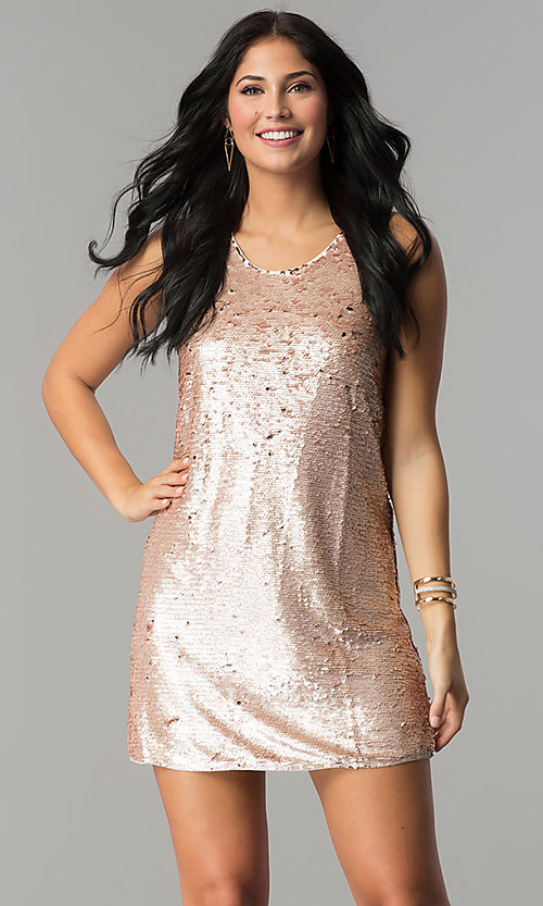 Image of reversible-sequin short shift holiday party dress. Style: VE-866-212376 Front Image