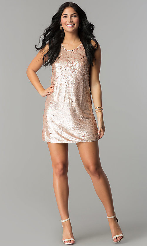 Image of reversible-sequin short shift holiday party dress. Style: VE-866-212376 Detail Image 1