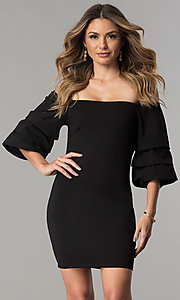 Short Black Off-the-Shoulder Party Dress