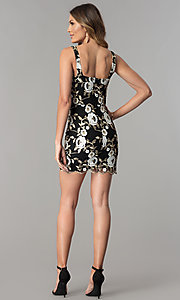 Image of short black party dress with metallic embroidery. Style: JTM-JD8010 Detail Image 3