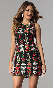 Embroidered Short Wedding-Guest Black Party Dress