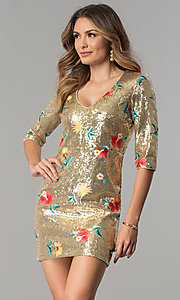 Image of sleeved short embroidered gold sequin party dress. Style: JTM-JMD7951 Front Image