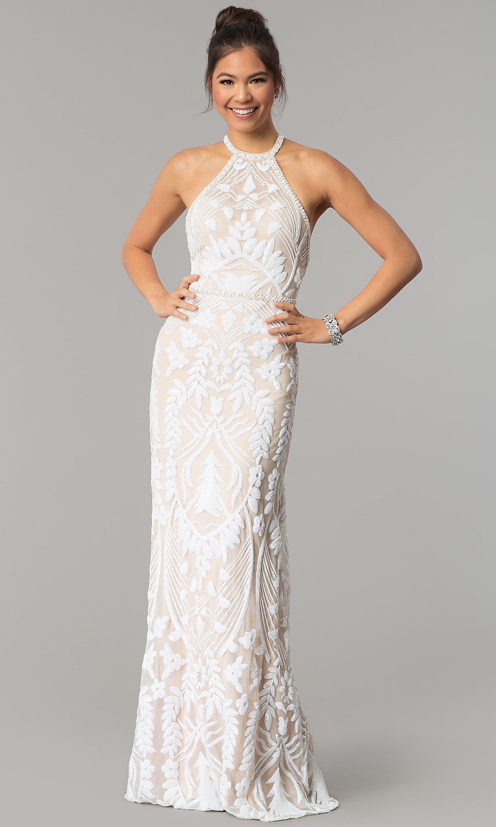 Beaded Sheath Evening Gown in Crepe with Embroidery