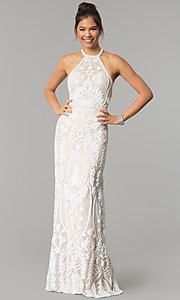 Image of open-back Zoey Grey long beaded prom dress. Style: ZG-31172 Front Image