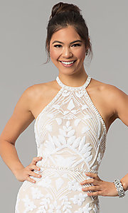 Image of open-back Zoey Grey long beaded prom dress. Style: ZG-31172 Detail Image 1