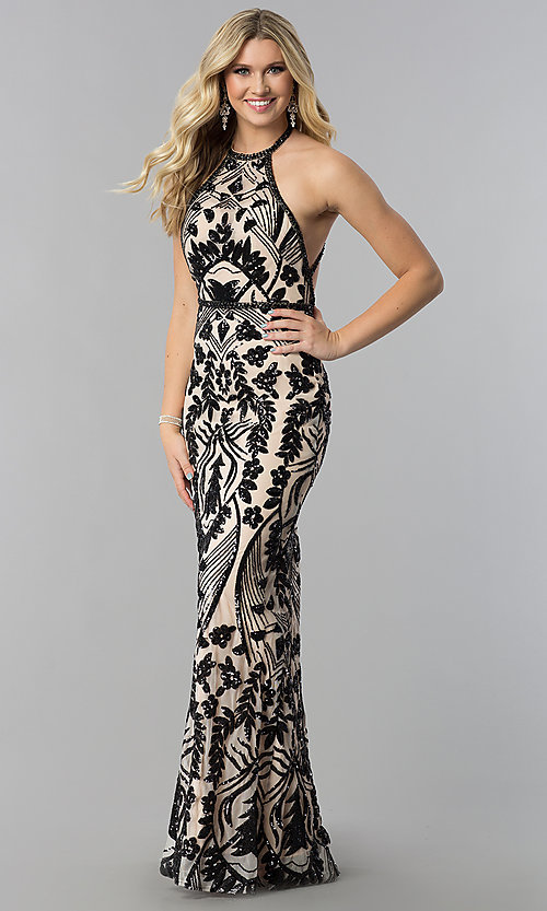 Image of open-back Zoey Grey long beaded prom dress. Style: ZG-31172 Detail Image 3