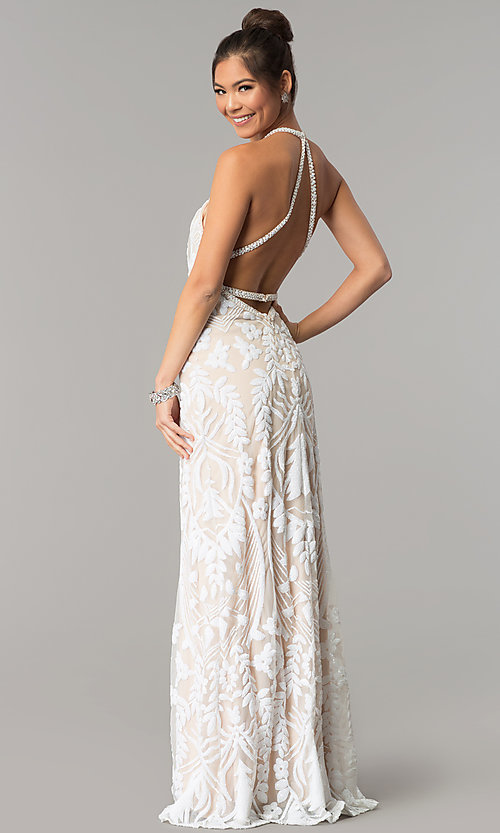 Image of open-back Zoey Grey long beaded prom dress. Style: ZG-31172 Back Image