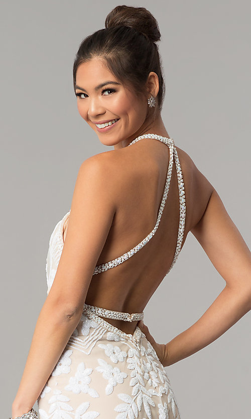 Image of open-back Zoey Grey long beaded prom dress. Style: ZG-31172 Detail Image 2