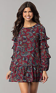 Short Long Sleeve Print Holiday Party Dress