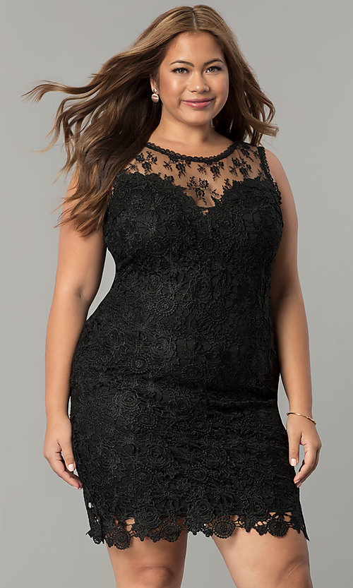Image Of Short Lace Plus Size Wedding Guest Party Dress Style Lp