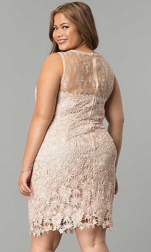 Plus Size Short Lace Wedding Guest Dress Promgirl