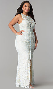 Scoop-Neck Front-Slit Lace Plus-Size Prom Dress