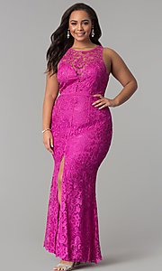 Image of scoop-neck front-slit lace plus-size prom dress. Style: LP-22888P Detail Image 2