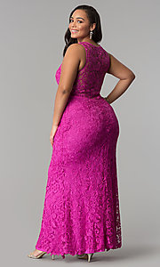 Image of scoop-neck front-slit lace plus-size prom dress. Style: LP-22888P Detail Image 3