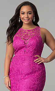 Image of scoop-neck front-slit lace plus-size prom dress. Style: LP-22888P Detail Image 4