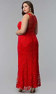 Image of scoop-neck front-slit lace plus-size prom dress. Style: LP-22888P Back Image