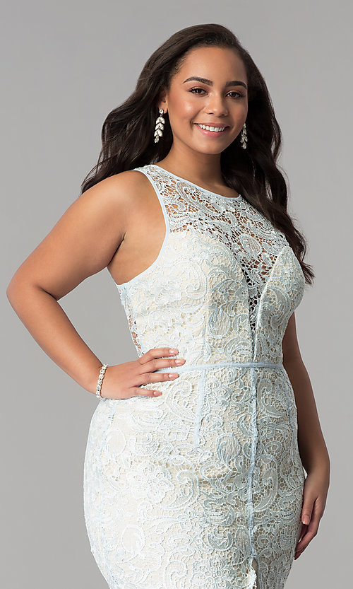 Image of scoop-neck front-slit lace plus-size prom dress. Style: LP-22888P Detail Image 1
