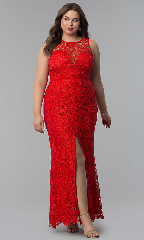 Image of scoop-neck front-slit lace plus-size prom dress. Style: LP-22888P Front Image