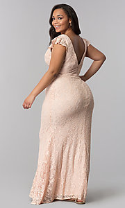 Image of long lace flutter-sleeve plus-size prom dress. Style: LP-24286P Back Image