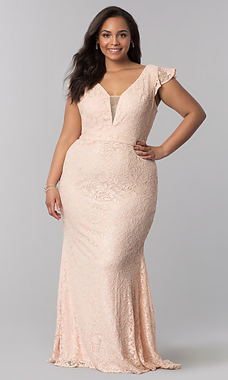 Long Lace Flutter-Sleeve Plus-Size Prom Dress