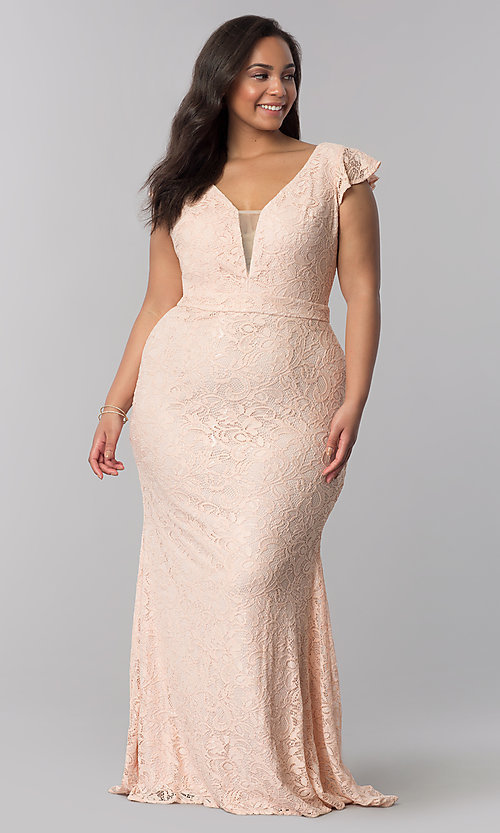Image of long lace flutter-sleeve plus-size prom dress. Style: LP-24286P Detail Image 1