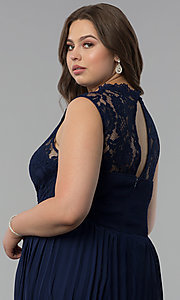 Image of long pleated plus-size lace-bodice prom dress. Style: LP-24305P Detail Image 2