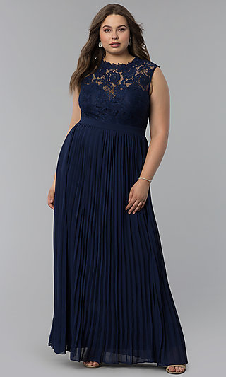 Long Pleated Plus-Size Lace-Bodice Prom Dress