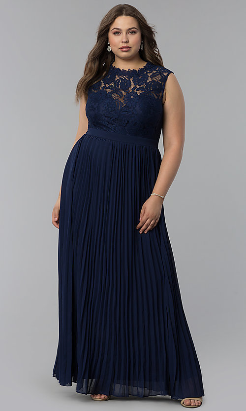 Image of long pleated plus-size lace-bodice prom dress. Style: LP-24305P Front Image