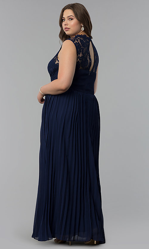 Image of long pleated plus-size lace-bodice prom dress. Style: LP-24305P Back Image