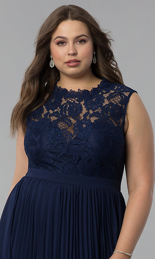 Image of long pleated plus-size lace-bodice prom dress. Style: LP-24305P Detail Image 1