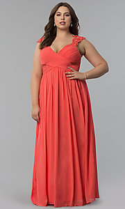 Knife-Pleated Empire-Waist Plus-Size Long Prom Dress