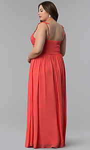 Image of knife-pleated empire-waist plus-size long prom dress. Style: LP-24424P Back Image