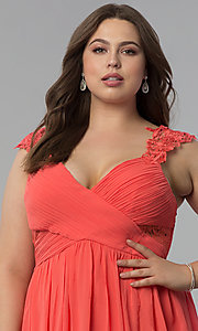 Image of knife-pleated empire-waist plus-size long prom dress. Style: LP-24424P Detail Image 1