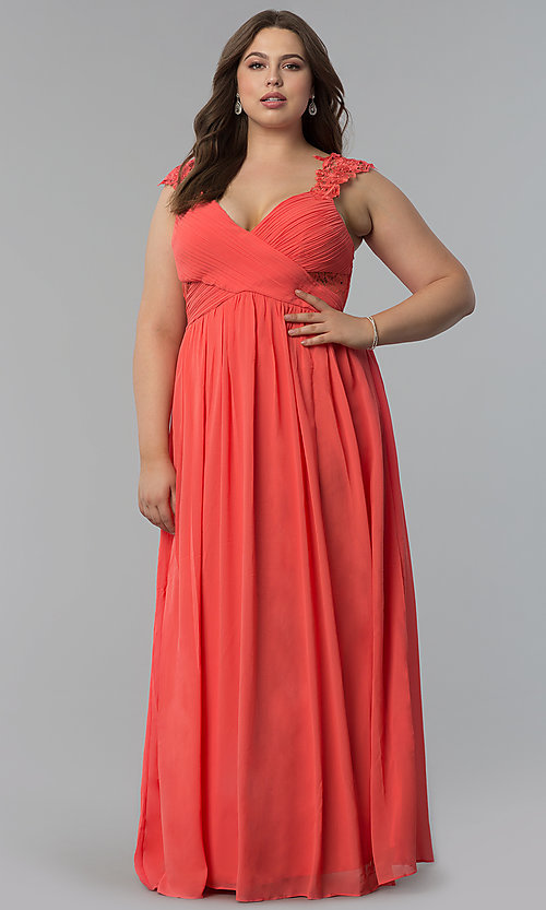 Image of knife-pleated empire-waist plus-size long prom dress. Style: LP-24424P Front Image