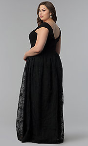 Image of v-neck off-the-shoulder plus-size long prom dress. Style: LP-24676P Back Image