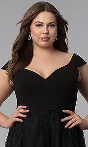 Image of v-neck off-the-shoulder plus-size long prom dress. Style: LP-24676P Detail Image 2