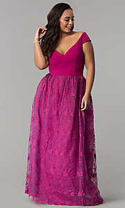Image of v-neck off-the-shoulder plus-size long prom dress. Style: LP-24676P Front Image